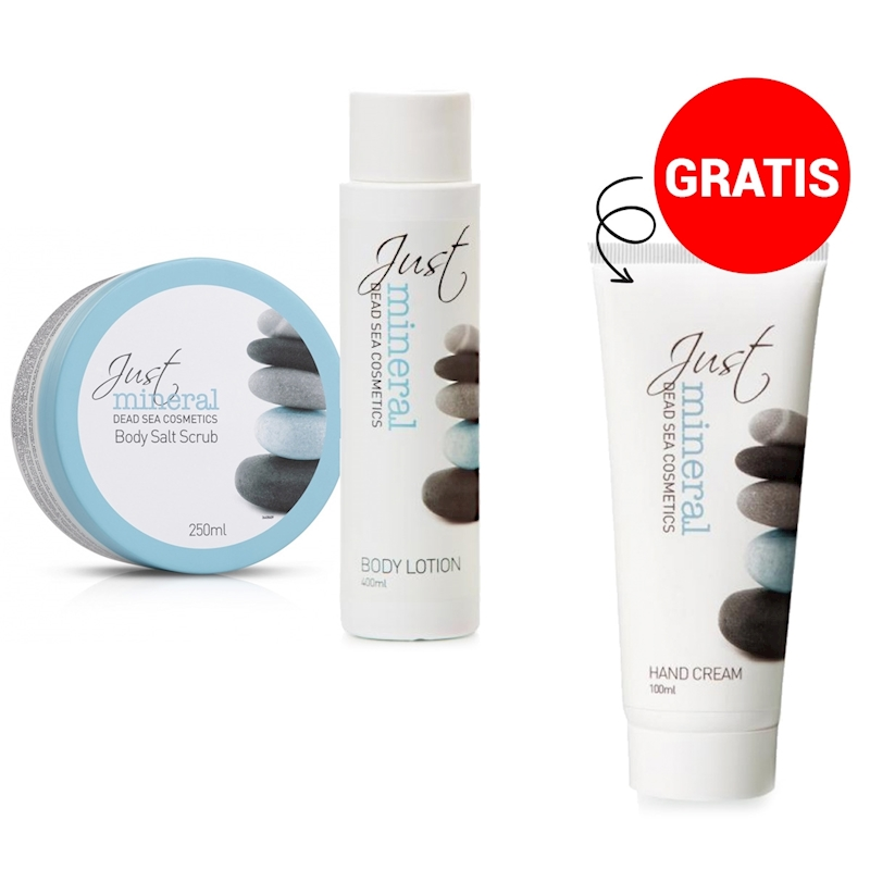 PROMO JUST MINERAL BODY LOTION+SCRUB met gratis handcream